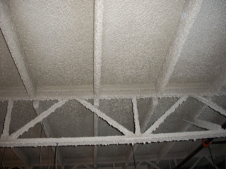 Metal ceiling sprayed with UnifireX F-10