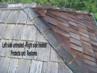 Treated and Untreated Shingles Side by Side Comparison